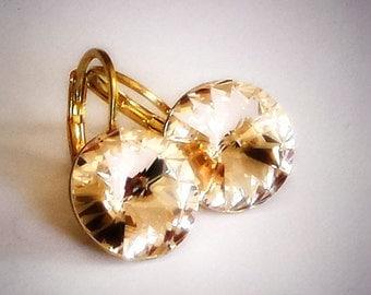 12mm Rivoli Swarovski Crystal leverback drop earrings silk,yellow gold plated