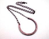 Rhinestone Necklace, Horseshoe Shape, Gunmetal Silver and White Glass Rhinestone Pendant Necklace, FREE Shipping U.S.