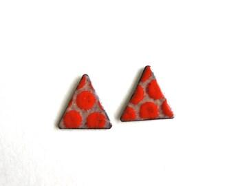 Red Enamel Triangle Stud Earrings