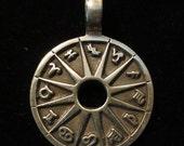 ON SALE Planetary Symbols Pendant Zodiac Astrology Wheel Amulet