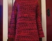 SALE Hippie Bohemian Ladies Red Black Bell Sleeve Fringe Sweater S/M