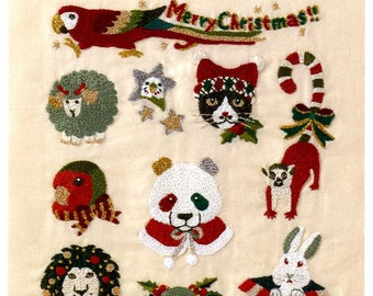 Red White Green Christmas Embroidery 350 - Japanese Craft Book