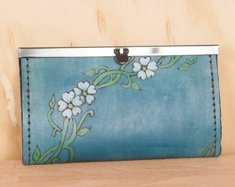 Leather Checkbook Wallet -  Clutch Wallet - Womens Wallet - Willow Pattern with Flowers and vines - White, green and blue