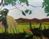 Peaceful View of the Irish Landscape - 11.5 by 15 inches Acrylic