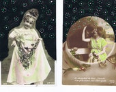 Bridesmaid,wedding.bride groom.Postcards.Antique.TWO.retro.Paris.french.rare.christmas.home deco.marriage.hand painted.vintage.craft.altered