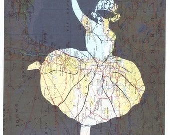Ballerina.dancer.ballet.Collage.Birthday gift,Map Print.Repurposed,art,Book Page,Masked Woman.Paper.home deco.buy 3 get 1 FREE.artist.tutu
