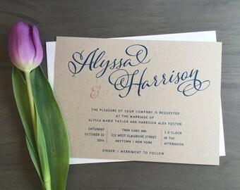 Navy Rustic Calligraphy Wedding Invitation - Kraft Calligraphy Wedding Invitation, Custom Rustic Invite