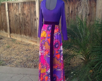 Vintage 60s psychedelic purple and pink maxi dress ~ hippie ~ festival ~ bohemian