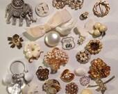27 white vintage destash charms
