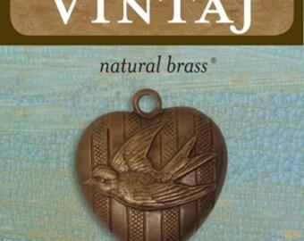 2 Vintaj Natural Brass Love Bird Heart Pendant 23x27mm (P0023R)
