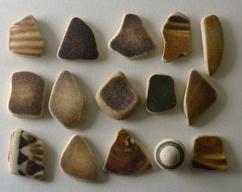15 pieces of smooth beach pottery BPL7