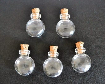 5 flat round  shaped glass vial bottle pendants free eye screws