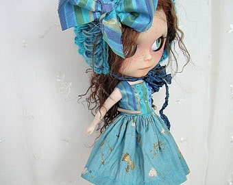 Blythe Doll Dress, Blythe Hat, Blythe Dress, Blythe Socks, Blythe Outfit.Silk n Children