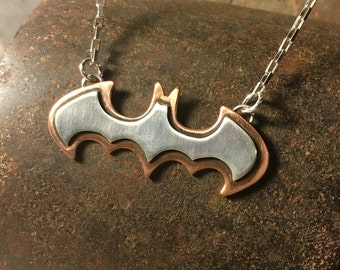Batman necklace silver on copper mixed metal gift for men or women