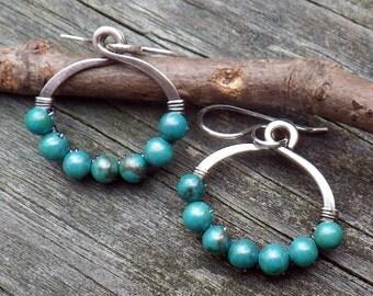 Blue green Hubei Turquoise beaded sterling silver hoop dangle earrings