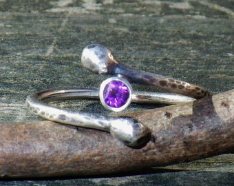 Amethyst sterling silver branch ring