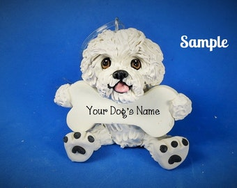 Bichon Frise Dog Christmas Bone Ornament OOAK Sally's Bits of Clay PERSONALIZED FREE with dog's name