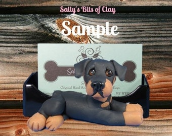 Rottweiler dog Business Card Holder / Iphone / Cell phone / Post it Notes OOAK sculpture by Sally's Bits of Clay