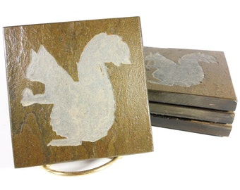 Squirrel Coasters - 4 Etched Slate Coasters - Hand Carved Stone Coaster - Natural Beverage Coasters - Animal Coasters Nature Forrest Decor