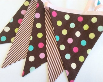 STOREWIDE SALE Brown and Pink Fabric Flag Bunting Banner As Shown Weddings and Parties. Photo Prop, Nursery, Girl's Room, Cake Smash, Cupcak