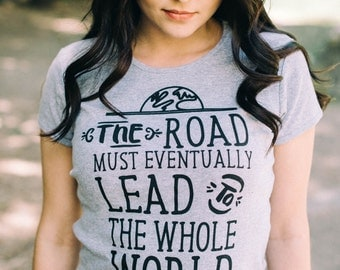 CLEARANCE Kerouac Tee - Inspirational, The Road Must Lead to the Whole World - Grey, Wearable Art, Beatnik Adventure Clothing Screen printed