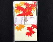 Japanese Envelopes - Fall Leaves  Envelopes - Receipt Envelopes - Packaging - Set of 5 - Momiji