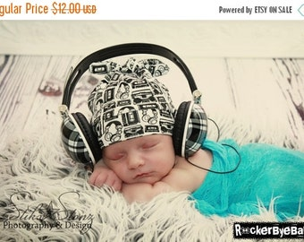 BLACK FRIDAY Weekend SALE RockerByeBeanies Newborn Baby knit skull cap hat beanie White Black Boom box Headphones  for your little boy or gi