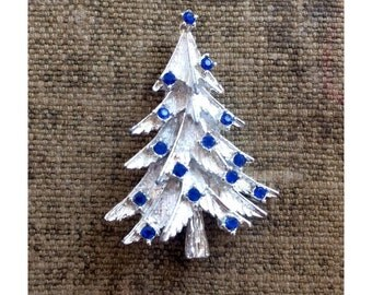 Vintage Christmas Tree Pin - Blue and Silver