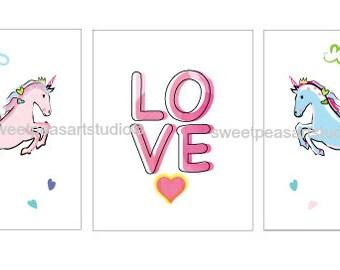 Unicorn Decor, Unicorn Art Prints, Girls Room Decor, Love Art, Unframed 8 x 10 Prints, Girls Wall decor, Bedroom Unicorn Decor
