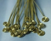Making your own earwire design with handmade gold tone spiral pin 3-inch long 20g thick, 2 pcs (item ID PSGPG20)