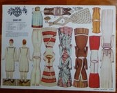 SARAH-ANN paper doll fashion 1880 with wardrobe vintage Castle Museum dresses gowns apron undergarment corset slip suitcase