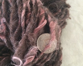 Icelandic mix lambswool handspun naturally dyed bulky weight single ply 75 yards permaculture iowa sustainable fibershed felting felted need