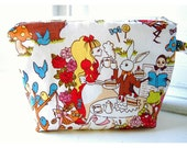 Alice in Wonderland Make Up Bag Accessory Cosmetic Bag Gift clutch purse Make Up Bag Accessory Cosmetic Gift Bridesmaid  Wedding Accessory