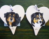 Australian Sheperd Ceramic Memorial Ornament Hand Painted and Made to Order by Pigatopia