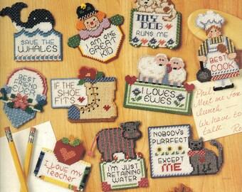 Magnet Talk  ~  plastic canvas leaflet  ~  12 magnet patterns to make