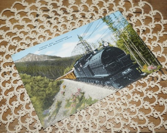 Antique train postcard Cascade MTS. Washington, cascade range