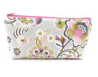 Pretty Bloom Flower on Grey Cosmetic Bag, Zip Pouch, Makeup Bag, Pencil Case, Zipper
