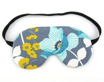 Blue and Yellow Flower Womens Sleep Eye Mask, Sleeping Mask, Travel Mask