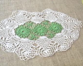 Vintage Doily, Ivory Doily, Crochet Doily, Cotton Doily, Lacey Doily, Green Doily, 1950's Doily, Handmade Doily