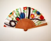 Handpainted Silk hand fan-Wedding hand fan-Giveaways-Bridesmaids-Spanish hand fan-14 x 7.5 inches (35 cm x 19 cm)