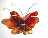 Fire Wings - 3D Stained Glass Butterfly Twirl -  Medium Red Orange Home and Garden Decor Hanging Suncatcher Yard Art (READY TO SHIP)