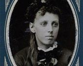 vintage photo 1870s Ella Kegley Hicklin Tintype Beauty Long Hair Woman Jewelry