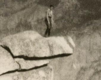 vintage photo 1919 Yosemite California Man at Rock Edge Glacier Point
