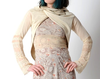 Ivroy wrap shrug, Light beige Chameleon jersey wrap with lace sleeves, Cream wrap cardigan