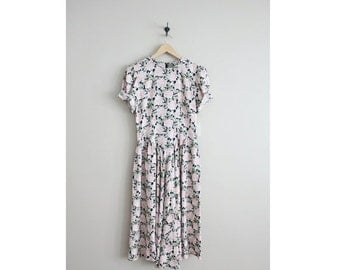 25% OFF SALE 90s floral dress / pink floral dress / long floral dress