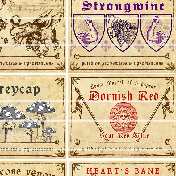 Game Of Thrones Wine Poison And Potion Labels Full Color