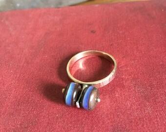 14kt Gold Australian Opal Ring Size 8.5