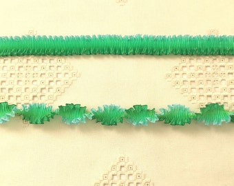 "Pleated French Ribbon Acetate Mermaid Bluegreen Ombré 1 meter 7/8"" wide #355"
