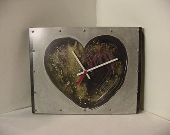 Wall Clock recycled artwork Black Heart wood frame 14 x 11 collaborative art piece | abstract Rustic Goth Strega primitive brut