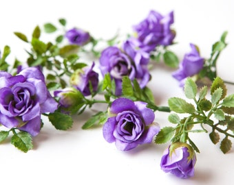 12 Smaller Roses and Rose Foliage in Purple -- Silk Flowers, Artificial Flowers, Artificial Roses ITEM 072